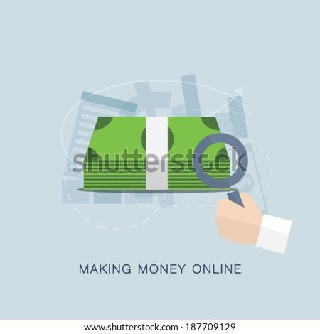 Making money online flat vector concept - stock vector