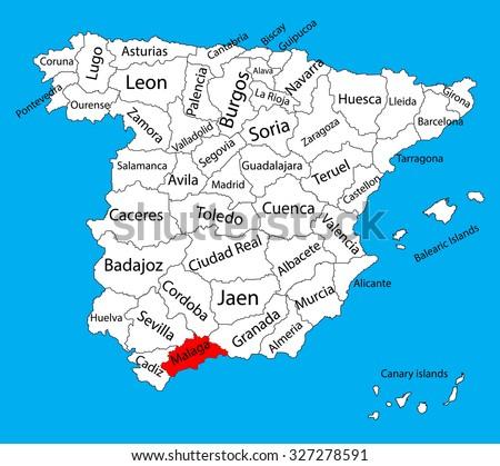 Malaga Map Spain Province Vector Map Stock Vector HD Royalty Free