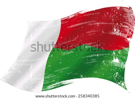Malagasy grunge flag. Flag of Madagascar in the wind with a texture - stock vector