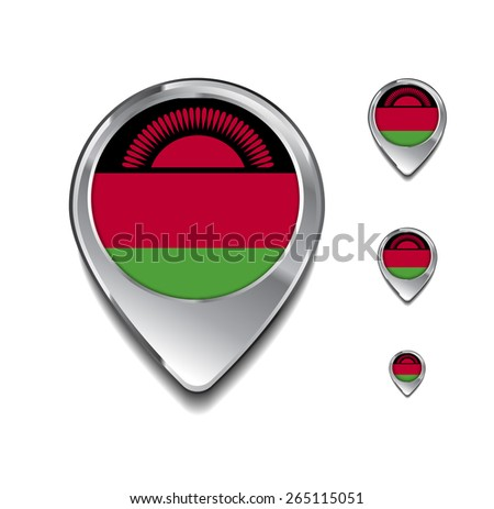Malawi flag map pointer. 3d Map Pointer with flag glossy button style on gray background - stock vector