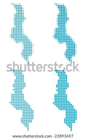 Malawi map mosaic set. Isolated on white background. - stock vector