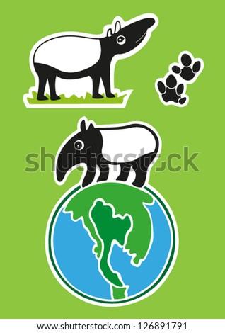 Malayan tapir in thailand in the world - stock vector