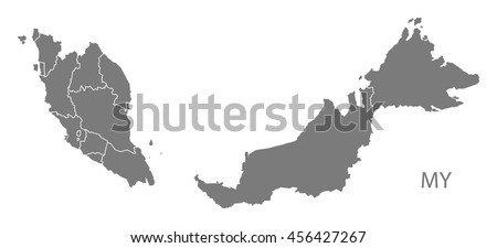 Malaysia Federal States Map Grey Stock Vector Shutterstock - Map of malaysia