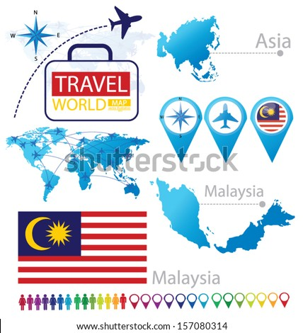 Malaysia flag asia world map travel stock vector 157080314 asia world map travel vector illustration gumiabroncs Images