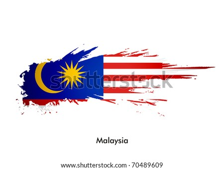 Malaysia flag with grunge design, vector illustration - stock vector