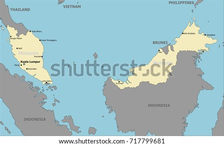 Malaysia Political Map Main Cities Stock Vector 717799681 Shutterstock