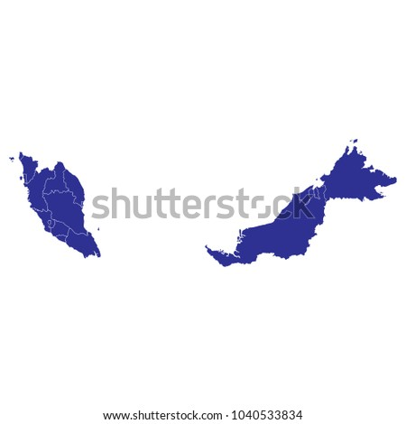 Malaysia Political Map White Background Vector Stock Vector