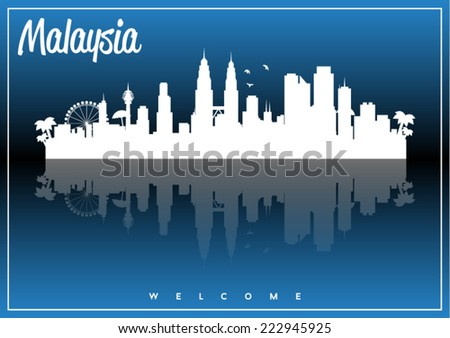 Malaysia, skyline silhouette vector design on parliament blue and black background. - stock vector
