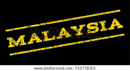 Malaysia watermark stamp. Text tag between parallel lines with grunge design style. Rubber seal stamp with dust texture. Vector yellow color ink imprint on a blue background.