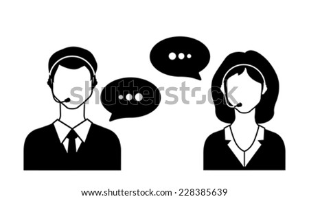 Male and female call avatar icons with a faceless man and woman wearing headsets with speech bubbles.  Vector Illustration.  - stock vector