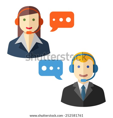 Male and female call center avatar icons - stock vector