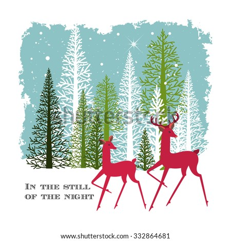 Male and female deer in the woods in winter  - stock vector