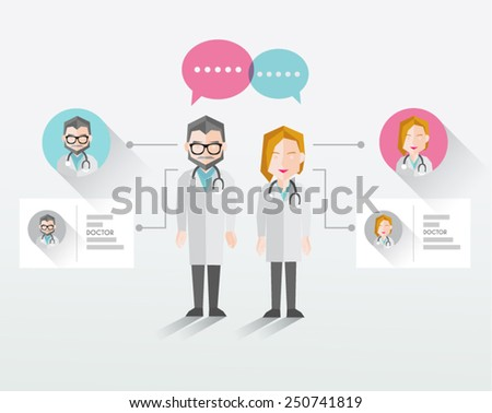 Male and Female Doctor Vector Illustration - stock vector