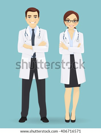 Male and female doctors isolated on blue background. Man and woman profession characters - stock vector