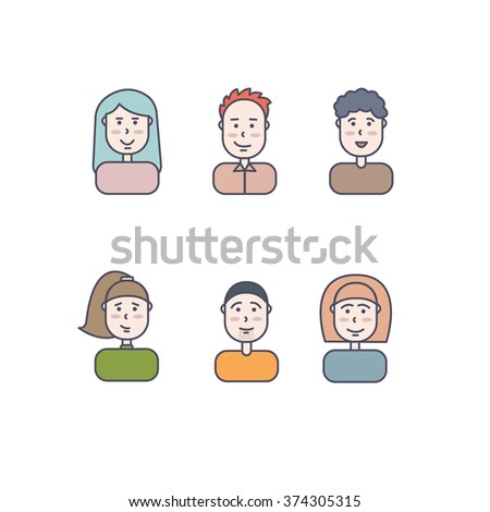 Male and female faces avatars. Cute and simple flat cartoon style. Modern thin line icons set of people. - stock vector