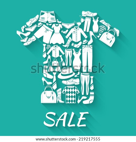 Male and female fashion clothes elements t-shirt shape sale concept vector illustration - stock vector