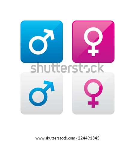 Male and Female Gender Icons - stock vector