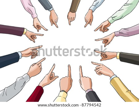male and female hands in office clothes pointing to the center of a circle - stock vector