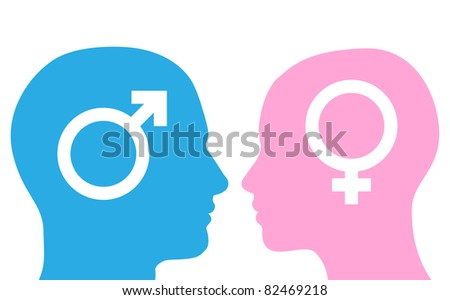 Male and female heads facing each other in silhouette with symbols. - stock vector