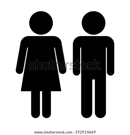 Male and Female icons on white background. - stock vector