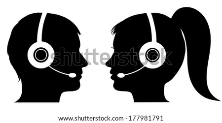 Male and female operator in call center - stock vector