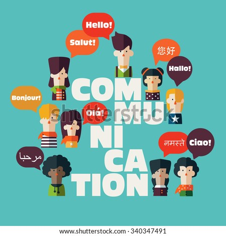 "Male and female people icons with colorful dialog speech bubbles in different languages and the word ""communication"". Communication, chat, assistance, interpretation and people connection concept - stock vector"
