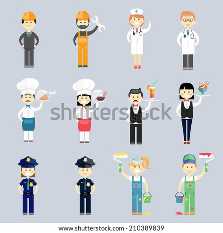 Male and female professional character vector set with doctor and nurse  cook and chef  waiter and waitress  police sergeants  interior decorators and construction workers - stock vector