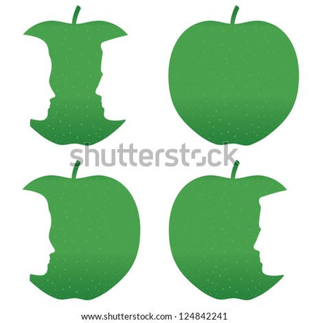 Male and female profiles bitten out of a green apple. - stock vector