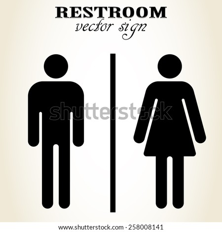 Male and Female Restroom sign. Symbol of a public toilet. Man, Women, WC icon - vector - stock vector