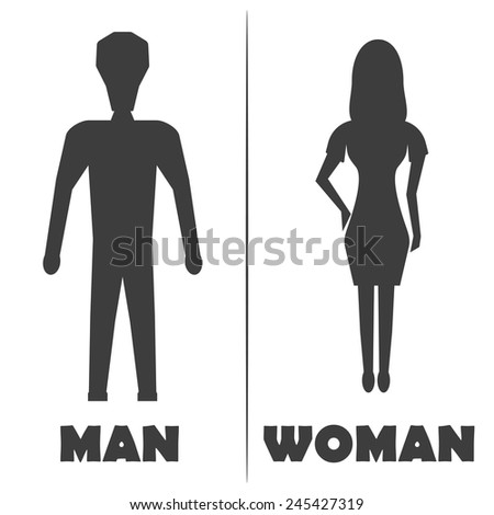 Male and Female Restroom Symbol Icon on white back. Vector illustration of man and woman - stock vector