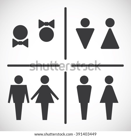 Male and Female Restroom Symbol Icon  Set. Male Female Restroom Symbol Icon Set Stock Vector 391403449