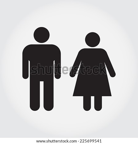 Male and Female Restroom Symbol Icon.  Vector Illustration.  - stock vector