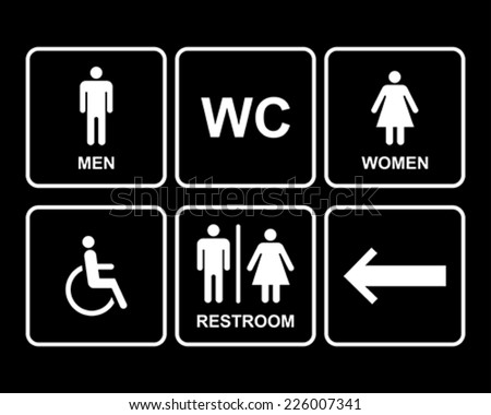 Male and Female Restroom Symbol Icons Set with men,women, arrow and disability.  Vector Illustration.  - stock vector