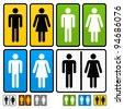 Male and Female Restrooms Vector Sign - stock photo