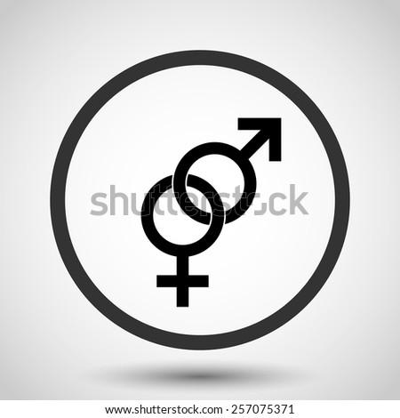 Male and female sex vector icon - black illustration - stock vector