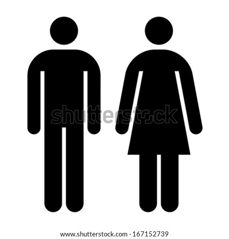 Male and female sign isolated on white background - stock vector