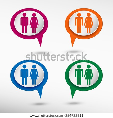 Male and female sign on colorful chat speech bubbles - stock vector