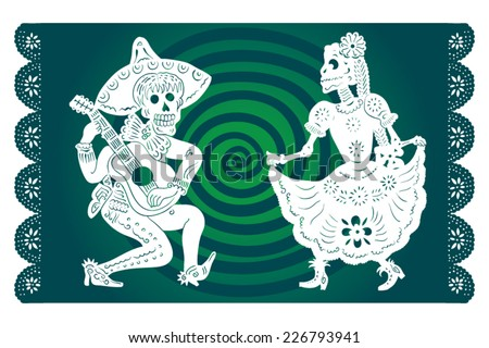 male and female skeletons performing a hot Mexican dance - stock vector