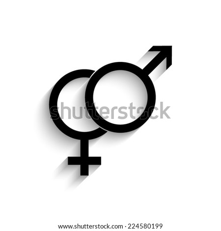 Male and female symbol - black vector icon with shadow - stock vector