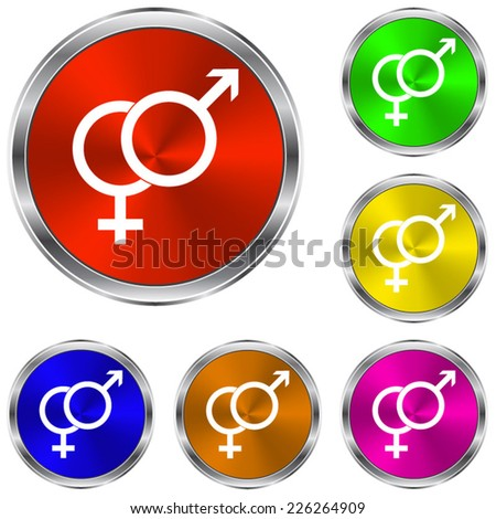 Male and female symbol  icon - vector glossy colourful buttons - stock vector