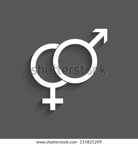 Male and female symbol with shadow on a grey background - stock vector