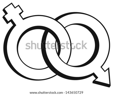 Male and female symbols isolated on white background - stock vector