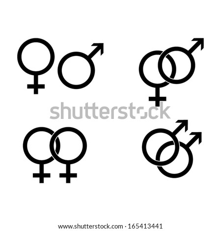 Male and female symbols - vector - stock vector