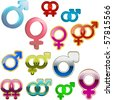 Male and female symbols. Vector illustrations. - stock vector