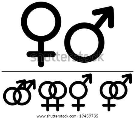 Male and  female symbols. Vector illustrations. Black-and-white contour. Combinations. - stock vector