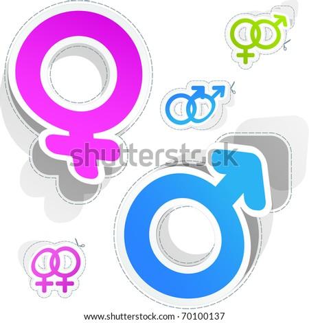 Male and female symbols. Vector sticker set. - stock vector