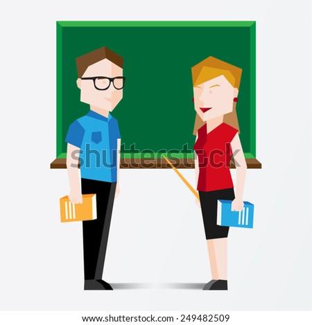 Male and Female Teacher Vector Illustration - stock vector