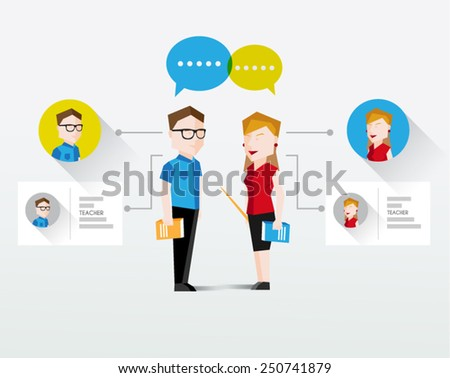 Male and Female Teacher Vector Illustration - stock vector