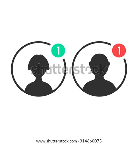 male and female user icons with notification. concept of ui, torso, character, teamwork, individuality, portrait. isolated on white background. flat style trend modern logo design vector illustration - stock vector