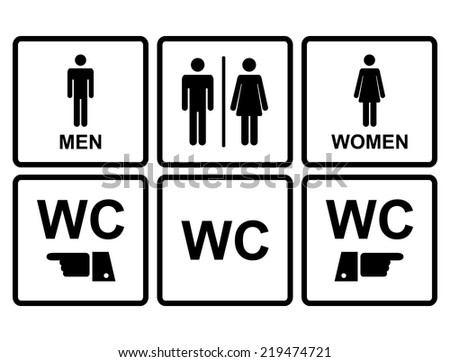 Male and female WC icon denoting toilet and restroom facilities for both men and women with black male and female,hand,pointer, silhouetted figures - stock vector
